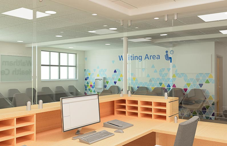 Waltham Cross Health Centre refurbishment reception desk 3D